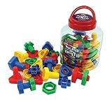 Play & Discover Spiele-Set mit Schrauben und Muttern, 4 Formen, 4 verschiedene Farben, 64 Stück, inkl. Aufbewahrungsdose