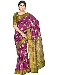 Mimosa By Kupinda Women's Tussar Silk Saree Ikkat Style Sarees sarees sarees (4130-SALN-5-PUR-OLV) Color: Purple