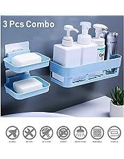 HOME CUBE Multipurpose Kitchen Bathroom Corner Shelf and 2 Soap Dish (25 x 11 x 7 cm, Random Colour) -3 Pieces Combo