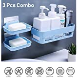 HOME CUBE ABS Plastic Multipurpose Kitchen Bathroom Corner Shelf and 2 Soap Dish (25 x 11 x 7 cm, Random Colour) -3 Pieces Combo
