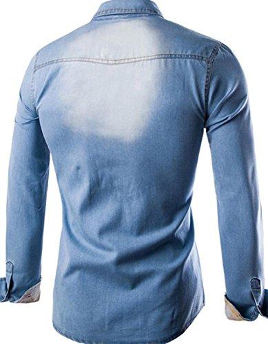 jeansian Herren Freizeit Hemden Shirt Tops Mode Langarmshirts Slim Fit 8761 Lightblue