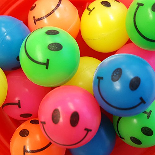 Preisvergleich Produktbild 12x Flummi Gummiball Dopsball Smiley Lachgesicht