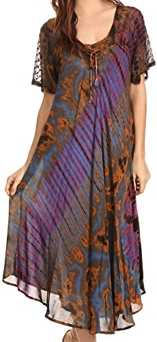 Sakkas 17682 - Ria Tie Dye Casquette brodée à Manches Cou Large Caftan Robe/Plage Cover Up - Multi - OS