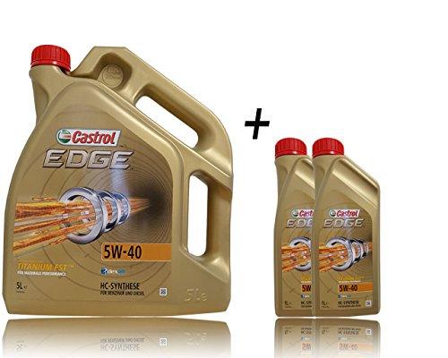 Castrol Edge Titanium FSTTM 5W-40 Huile de moteur 2 bidons de 1L + 1 bidon de 5L = 7L avec étiquette de changement d'huile incluse, spécifications/homologations: ACEA C3; API SN; VW 502 00 / 505 00; BMW Longlife-04; pas cher