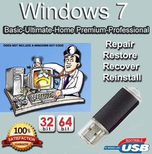 Windows 7 Home Premium, Professional, Ultimate und Basic 32/64 Bit USB-Speicherstick Fix PC, Laptop und Desktop.