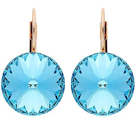 MYA art Damen Ohrringe Ohrhänger Brisur Creolen Rund mit blauen Swarovski Elements Strass Kristallen Rosegold Vergoldet Blau Rose Gold MYARGOHR-46