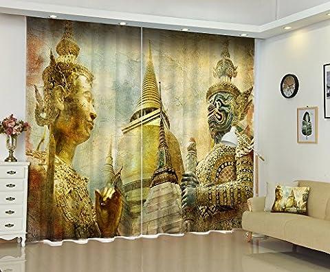 LB Verdunklungsvorhänge Polyester Lärm reduziere Fenster Drapiert-- Die Figur des Buddha 3D Drucken Verdunklung Gardine Für Wohnzimmer Schlafzimmer Vorhang dekoration