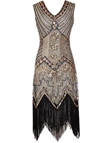 apper doppelte V-Ausschnitt Pailletten Strass verschönert fransen Kleid D20S003(XL,Gold) (1920 Frauen Kostüm)