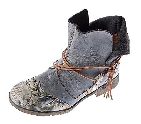 Damen Comfort Leder Stiefeletten TMA 5161 Boots Schwarz-Grau Knöchel Schuhe