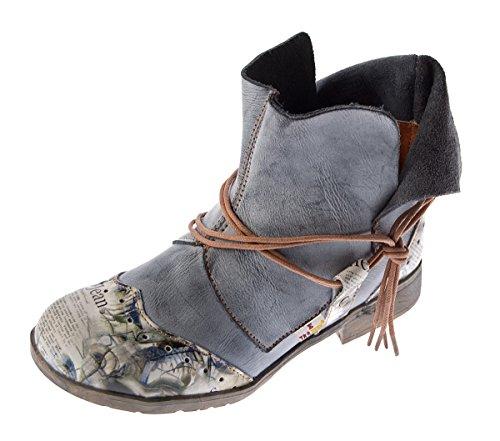 Damen Comfort Leder Stiefeletten TMA 5161 Boots Schwarz-Grau Knöchel Schuhe Gr. 40