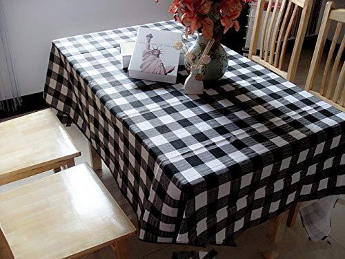 hanxuanzhuanmai Tischdecke Stoff leinwand Streifen tischdecke Mode kleine frische büro, schwarz und weiß Gitter 145 * 145 cm -