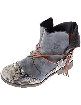 Damen Comfort Leder Stiefeletten TMA 5161 Boots Schwarz Grün Braun Weiß Rot Knöchel Schuhe Stiefel