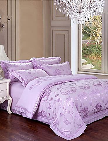 PU&PU literie spéciale contre lilas conception douce mis reine roi 4pcs literies de lin cadeaux couverture de mariage de couette solide lit , king