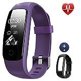 Lintelek Fitness Armband ID107Plus HR mit Band Fitness Tracker Pulsuhr Schrittzähler SMS Anrufe Wecker Kalorienzähler Musiksteuerung Fitness Watch Verbundes GPS