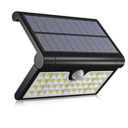 Lloo esterno solari pieghevole del lampade,pir sensore di movimento,illuminazione grandangolare,wireless ip65 resistenti all'acqua,240° regolabile portalampada,nero,packageb