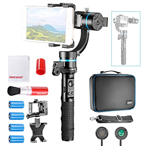 Neewer NW3D2 3-Axis Handheld Gimbal Stabilizer with Cleaning Kit, Mountable and Detachable Wired Control Gimbal with 1/4-inch Female Thread for iPhone 7 7Plus, GoPro Hero 4 3+ GoPro Accessories