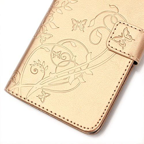 Prägen Blumen-Case, Magnetverschluss Synthetische PU-Leder-Kasten-Abdeckung mit hängenden Seil und Wallet-Funktion für Samsung S7392 ( Color : Blue , Size : Samsung S7392 ) Gold