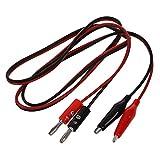SODIAL(R) 2pzs Clavija platano negro rojo a Cable de prueba de sonda de clips de cocodrilo 1M