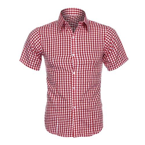 MEIbax Clearance Herren Klassisches Kariertes Hemd Sommer Kurzarm Shirt (Rot, M) - Herren Arbeitshemd Aus Denim