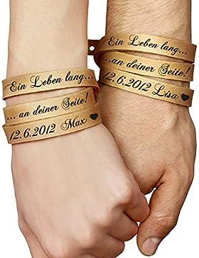 schenkYOU® 2er-Set Wickelarmbänder in Natur-Braun mit Gravur gestalten - Echt Lederarmbänder mit Ihrem Wunschtext...