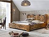 Woodkings Bett 180x200 Kingsburgh Doppelbett recycelte Pinie rustikal Schlafzimmer Massivholz Design Ehebett Balkenbett Massive Naturmöbel Echtholzmöbel günstig