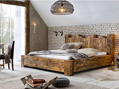 Woodkings Holzbett 180x200 Kingsburgh massives Doppelbett recycelte Pinie rustikal Schlafzimmer Massivholz Design Ehebett Balkenbett Naturmöbel Echtholzmöbel günstig