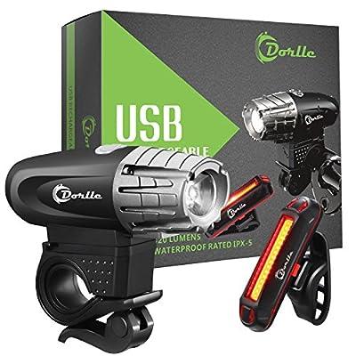 Dorlle USB wiederaufladbares Fahrradlicht LED Set Fahrradbeleuchtung Fahrradlampe Superhelle Frontlicht und Rücklicht Einfache Montage am Rahmen Max Sicherheit für Nachtfahrer Universal Fit