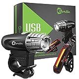 Dorlle USB wiederaufladbares Fahrradlicht LED Set Fahrradbeleuchtung Fahrradlampe Superhelle Frontlicht und Rücklicht Einfache Montage am Rahmen Max Sicherheit für Nachtfahrer Universal Fit (Schwarz-1)