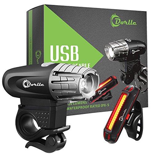 Dorlle USB wiederaufladbares Fahrradlicht LED Set Fahrradbeleuchtung Fahrradlampe Superhelle Frontlicht und Rücklicht Einfache Montage am Rahmen Max Sicherheit für Nachtfahrer Universal Fit (Schwarz)