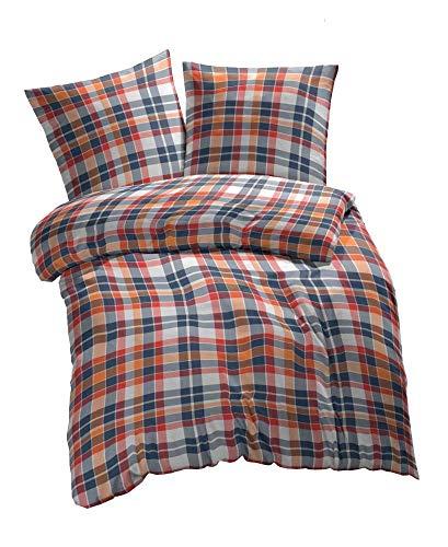 etérea 2 TLG. Renforcé Bettwäsche Kari Kariert - 100% Baumwolle Bettbezug - 135x200 cm + 80x80 cm, Orange Weiss