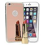 NALIA Spiegel-Handyhülle für iPhone 6 6S, Ultra-Slim Mirror Case Cover TPU Silikon-Hülle, Dünne Schutz-Hülle Backcover verspiegelt Handy-Tasche Bumper Etui für Apple i-Phone 6S 6, Farbe:Rose Gold