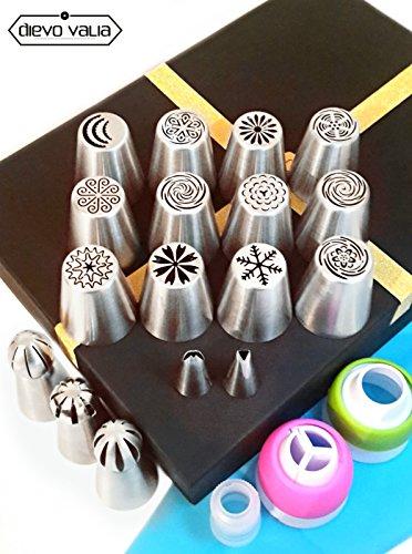 Ruso de tuberías de puntas (42piezas Set de puntas de 12flor grande/boquillas + 3punta de bola + 2para repostería de silicona/para/Bolsa para Fondant y 10+ 10libre desechables bolsas y 3acopladores para Cupcake/decoración de pasteles + 2hojas puntas