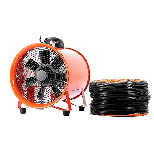 BuoQua Gebläse Lüfter 12 Zoll Industrie Ventilator 71 DB (A) 3300 R/Min Praktisch Tragbar Windmaschine Mit Grill Leise IP54 Ventilator Lüfter (Mit 5M Lüftungskanal)