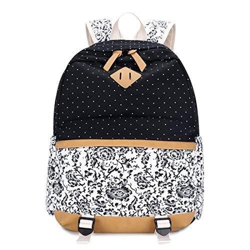 LissomPlume Canvas Schulrucksack Schultertasche Taschen Reisetasche Laptoprucksäcke Umhängetasche - Blume schwarz -