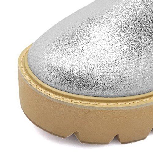 AalarDom Femme Rond à Talon Haut Couleur Unie Chaussures Légeres Argent