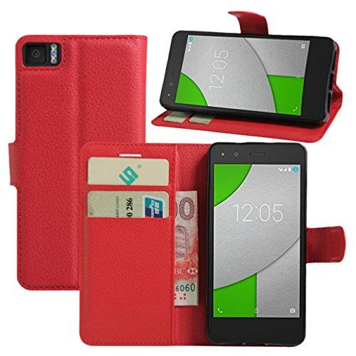 BQ Aquaris X5Funda, hualubro [Kickstand] [Protección Todo Alrededor] Premium Funda de piel sintética Teléfono móvil Carcasa Con Ranura de la tarjeta para Smartphone Bq Aquaris X5, piel sintética, rosso, For BQ Aquaris A4.5 / M4.5