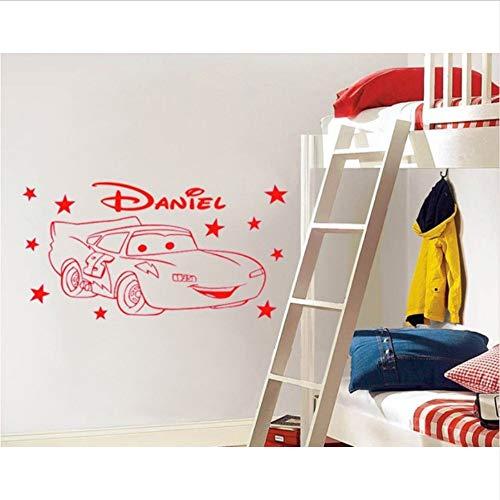 Olivialulu Nette Einzigartige Cartoon Auto Star Personalisierte Name Vinyl Wand Poster Kinder Wandaufkleber Ausgangsdekor Für Kinder Kindergarten 80X50 Cm (Star Woche Poster Der)