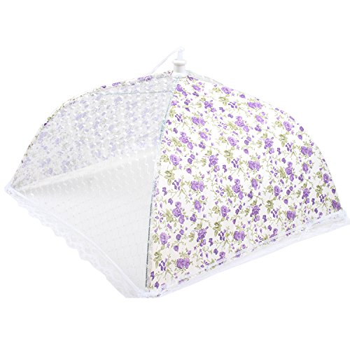HOMIZE Pop up Mesh Large Screen Food Cover Tent, Reusable and Collapsible Outdoor Food Umbrella, Food Protector Tent Keep Out Flies, Bugs, Mosquitoes, 31 x 23 cm, Purple-Cream