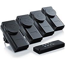 Arendo - Set di prese telecomandate (4+1) per ambienti esterni (Outdoor) | Set di 4 prese con azionamento telecomandato | 1x telecomando | Indicazione di stato a LED | Protezione per bambini | Alto raggio di ricezione di ca. 25m | A norma IP44 per ambienti esterni | Nero