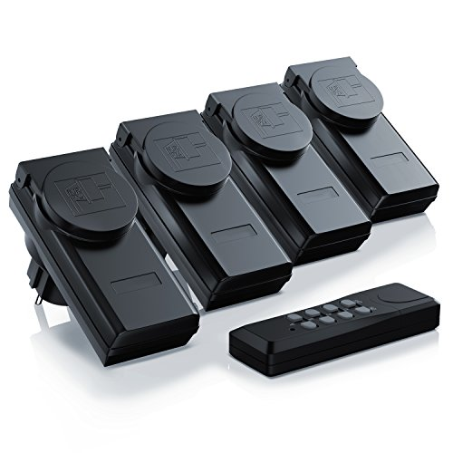 Arendo - Outdoor Funksteckdosen-Set (4+1) für den Außenbereich (Outdoor)| 4x Funkschalter-Steckdosenset | 1x Fernbedienung | Kindersicherungsschutz | hohe Funkreichweite von ca. 25m | IP44-Norm für Außenbereich | schwarz