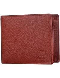 K London Tan Multi Card Coin Pocket Bifold Real Leather Mens Wallet - 541_tan