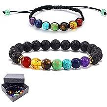 Gudotra 2pcs 7 Chakras Pulseras Ajustables Jade Ágata Pulseras Arcos Iris de Siete Colores Joya Braided