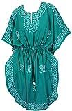 LA LEELA 5 Damen in 1 leichte, weiche Rayon bestickte Tunika Abend Casual Dress Bikini Kimono Badebekleidung verschleiern Lounge Bademode Plus Kurze gemütliche Nacht Entbindungs ??Kaftan grün