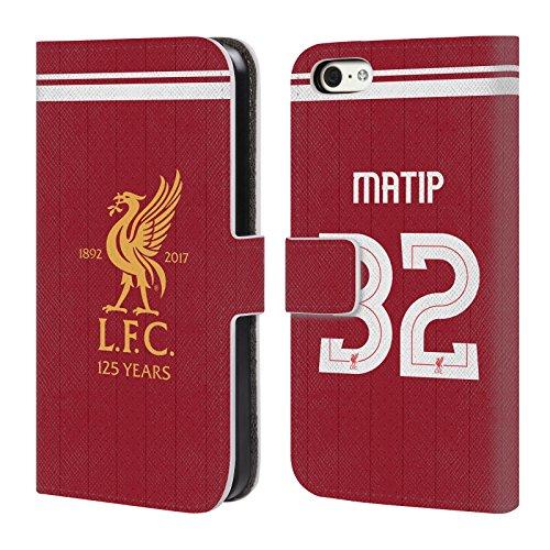 Offizielle Liverpool Football Club Philippe Coutinho Spieler Home Kit 17/18 Gruppe 1 Brieftasche Handyhülle aus Leder für Apple iPhone 5 / 5s / SE Joel Matip