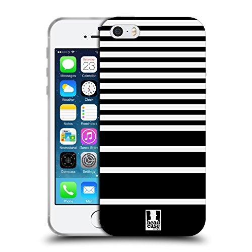 Head Case Designs Schwarz Und Weiss Dynamische Streifen Soft Gel Hülle für Apple iPhone 7 / iPhone 8 Schwarz Und Weiss