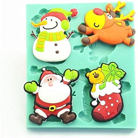 TANGCHU silicone albero di Natale pupazzo di neve Babbo Natale Candy Canes Renna Cake Mold Stampi fondente decorazione torte cioccolato cottura Strumenti Verde