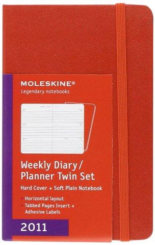 Moleskine 2011 12 Month Weekly Planner Twin Set: Red Horiz HC Planner...
