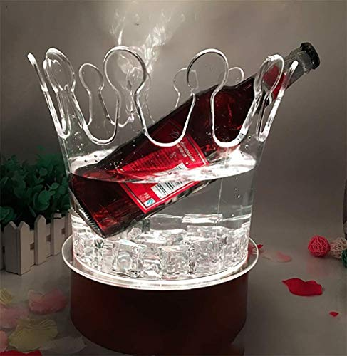 Bunte LED Eiskübel, Große Kapazität Weinkühler LED Lebensmittelqualität Eimer Kunststoff Retro Champagner Wein Trinkt Bier Eimer, Lithium-Batterie Aufgeladen Werden Kann, Für Party, Zu Hause, Bar 5l-lithium-batterie