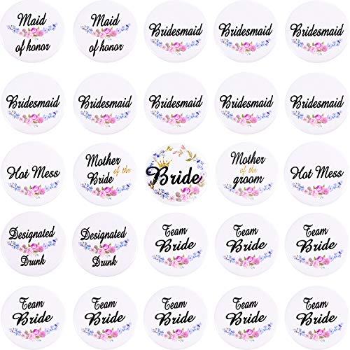 25 Stück Brautknöpfe Hochzeit Braut Knöpfe Bachelorette Party Pins für Hochzeit Brautparty Brautjungfer Geschenke weiß 8 Stile