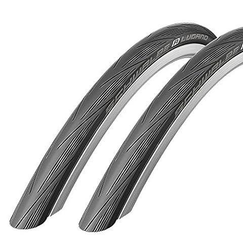 Schwalbe Lugano 700 x 28c Road Bike Tyres - Black (Pair)